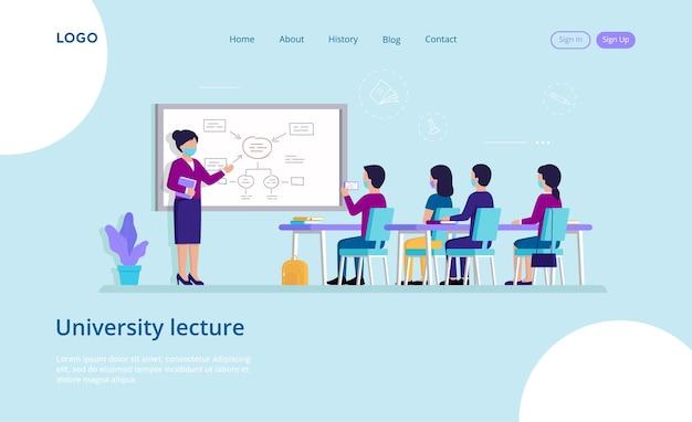 Página inicial de palestra da universidade em condições seguras