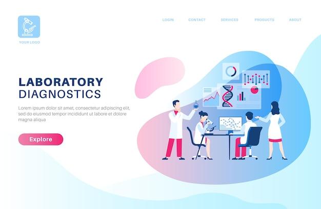 Página inicial de pesquisa científica em design plano