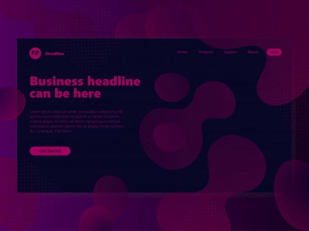 Página inicial de plano de fundo design fluido roxo