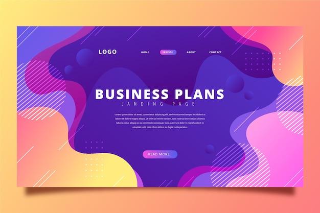 Página inicial de planos de negócios gradiente