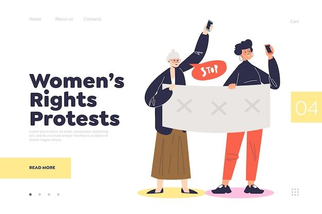 Página inicial de protesto pelos direitos das mulheres com mulheres segurando faixas políticas