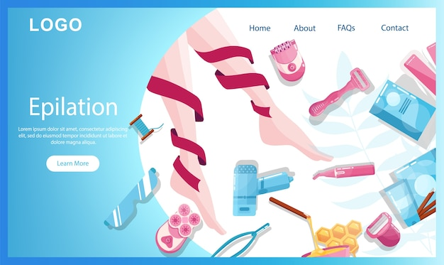Página inicial de remoção de pelos e depilação ou banner da web. procedimento de depilação de beleza. idéia de cuidado e beleza com o corpo e os parentes. cosméticos de tratamento de beleza profissional. s