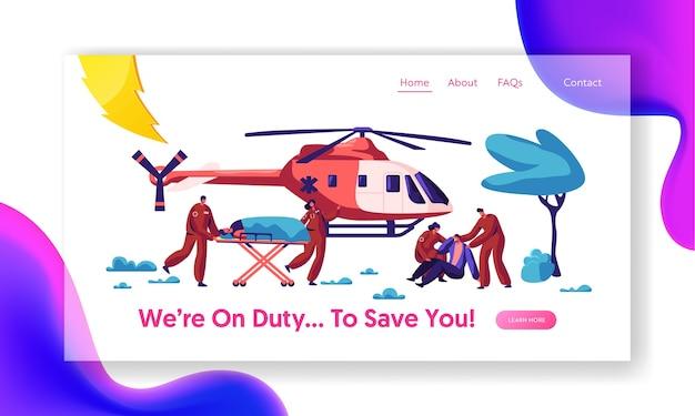 Página inicial de resgate de medicina profissional. paramédico urgente ferido voo de caráter de aviação para o hospital pelo site ou página de saúde. ilustração em vetor plana dos desenhos animados