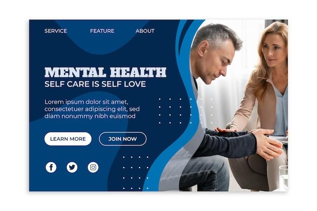 Página inicial de saúde mental com foto