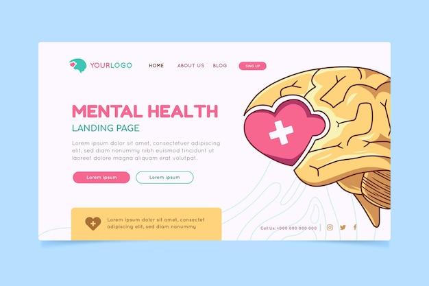 Página inicial de saúde mental desenhada à mão