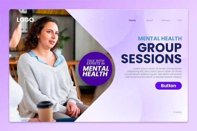 Página inicial de saúde mental gradiente com foto