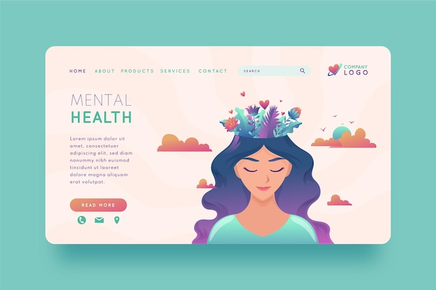 Página inicial de saúde mental gradiente