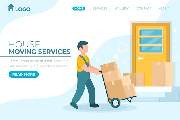Página inicial de serviços de mudança de casa com caixas