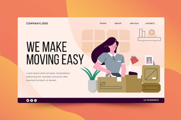 Página inicial de serviços de mudança de casa