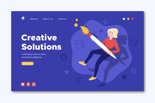 Página inicial de soluções de criativos planos orgânicos