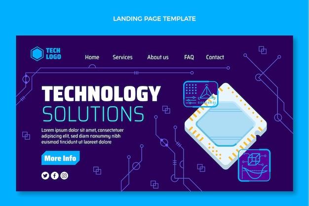 Página inicial de soluções de tecnologia de design plano