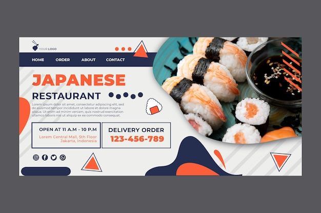 Página inicial de sushi de restaurante japonês