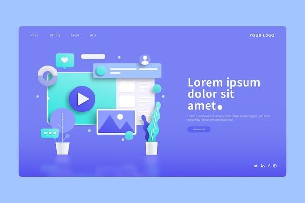 Página inicial de telas e plantas digitais de conceitos 3d
