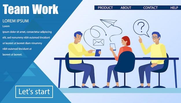 Página inicial de trabalho em equipe e aplicativo móvel