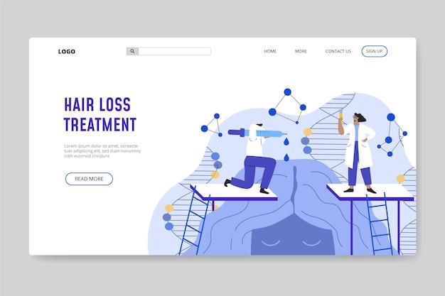 Página inicial de tratamento contra queda de cabelo desenhada à mão plana