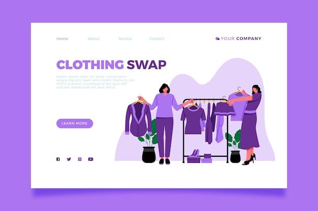 Página inicial de troca de roupas desenhadas à mão plana