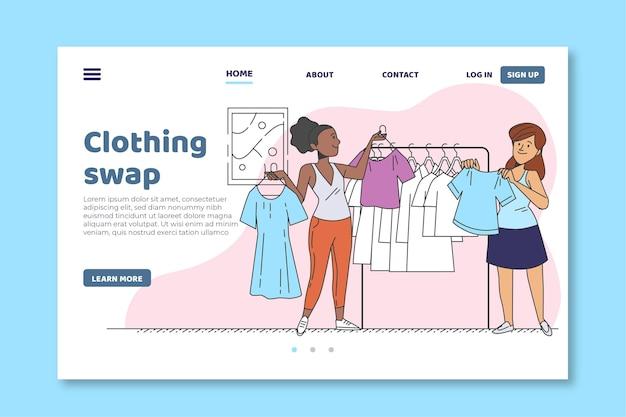 Página inicial de troca de roupas