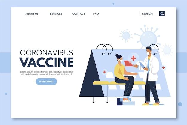 Página inicial de vacina de coronavírus desenhada à mão plana