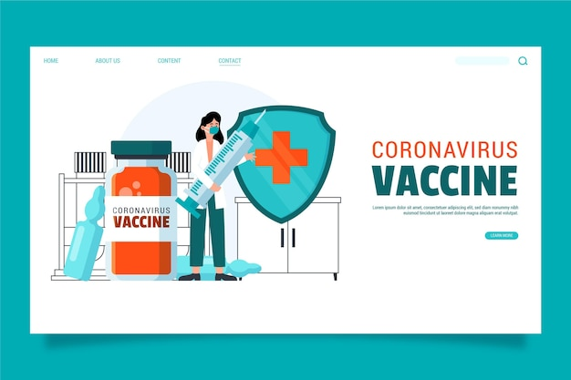 Página inicial de vacina de coronavírus desenhada à mão
