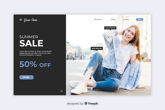 Página inicial de venda com foto