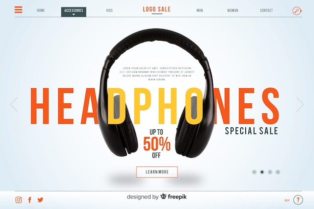 Página inicial de venda de fones de ouvido com foto
