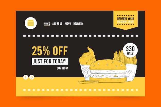Página inicial de venda de hambúrgueres