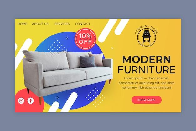 Página inicial de venda de móveis gradientes com foto