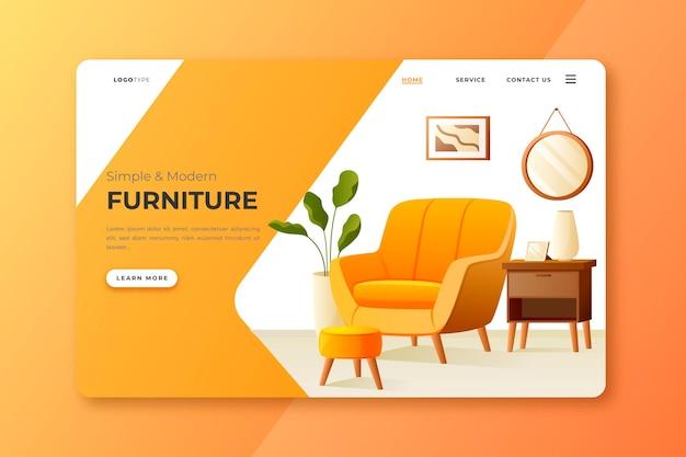 Página inicial de venda de móveis gradientes