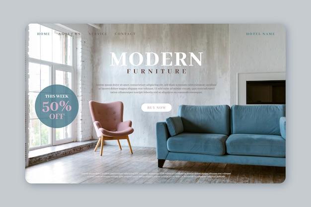 Página inicial de venda de móveis planos com foto