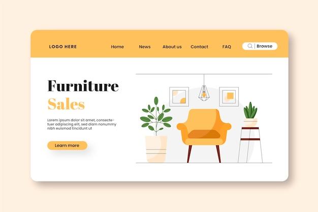 Página inicial de venda de móveis planos