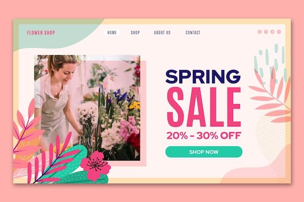 Página inicial de venda de primavera de design plano