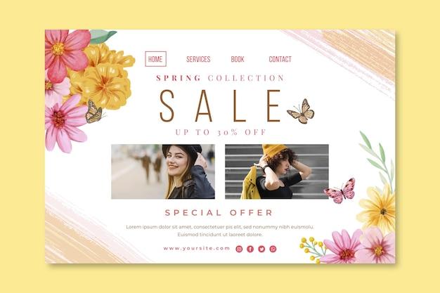 Página inicial de venda de primavera em aquarela