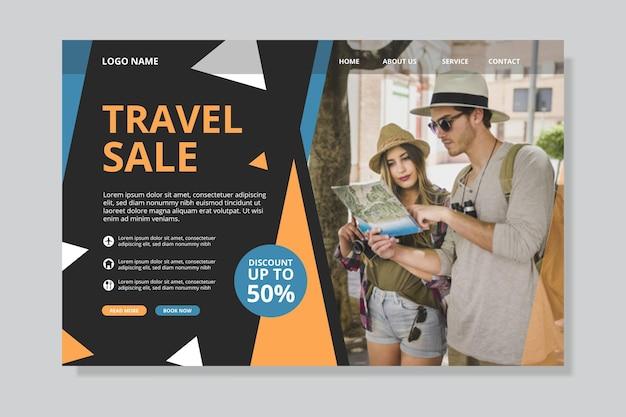 Página inicial de venda de viagens com foto