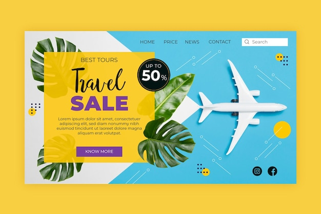 Página inicial de venda de viagens com imagem