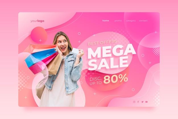 Página inicial de venda gradiente com foto