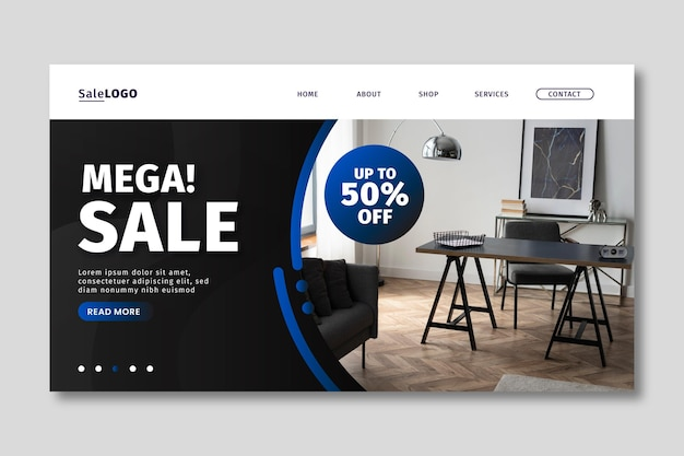 Página inicial de venda gradiente com modelo de foto