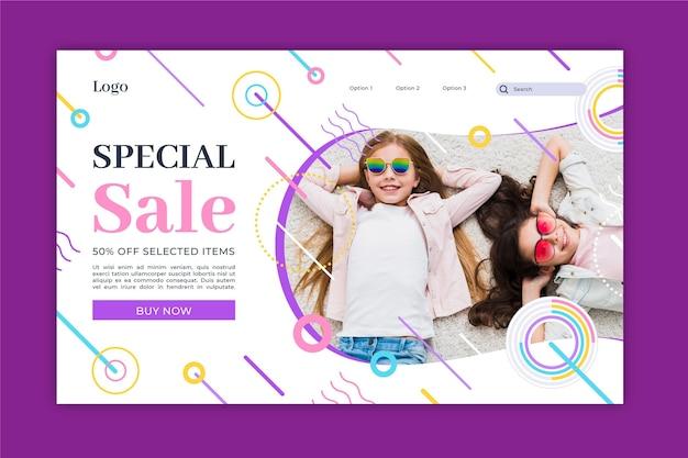Página inicial de venda plana com modelo de foto