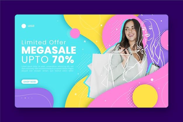 Página inicial de vendas abstrata com foto