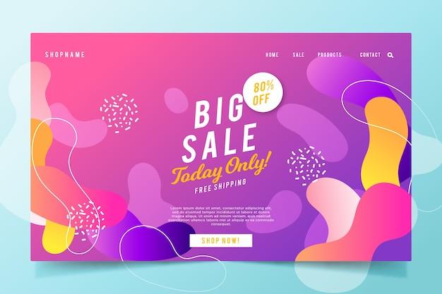 Página inicial de vendas abstrata com gradiente