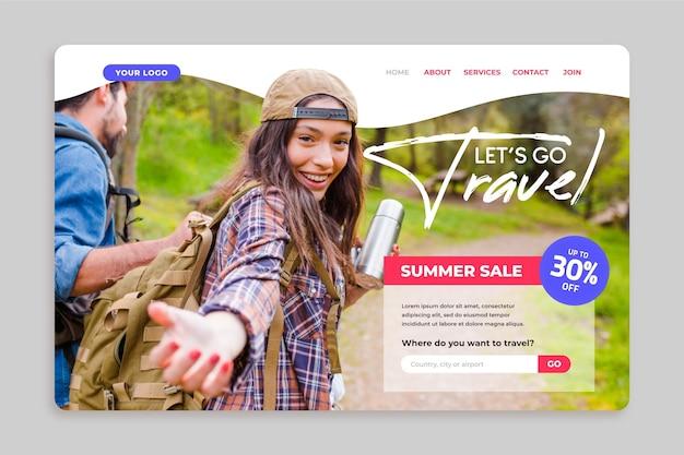 Página inicial de vendas de viagens com foto