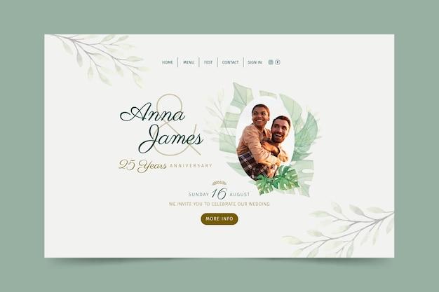 Página inicial do aniversário de casamento de 25 anos