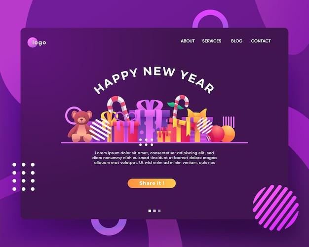 Página inicial do ano novo e presentes de natal