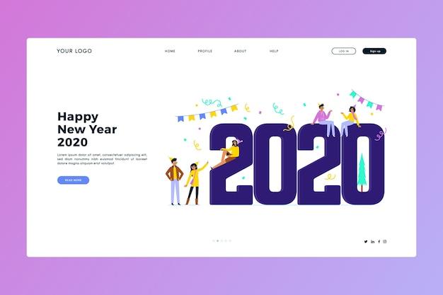 Página inicial do ano novo em design plano