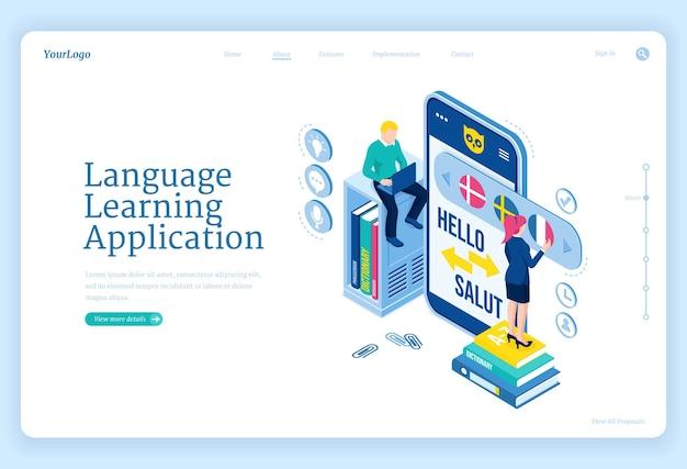 Página inicial do aplicativo de aprendizagem de línguas