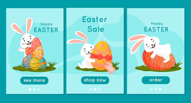 Página inicial do aplicativo móvel. coelhinhos da páscoa com ovos em um pasto. folheto de desconto.