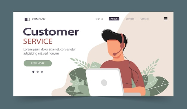 Página inicial do assistente online homem com fones de ouvido com computador ilustração do conceito para suporte, assistência, call center suporte técnico