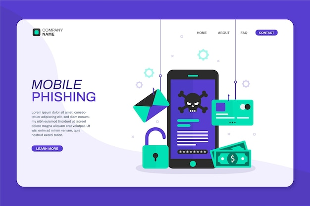 Página inicial do aviso de phishing para celular
