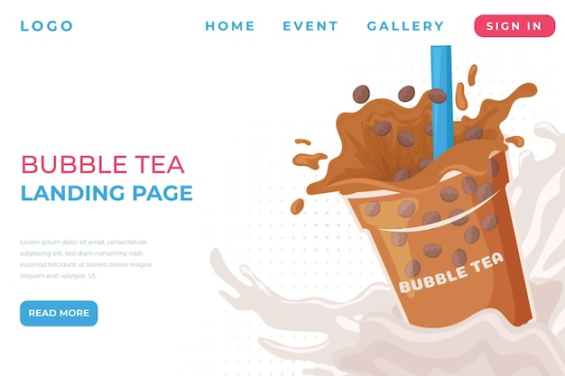 Página inicial do bubble tea
