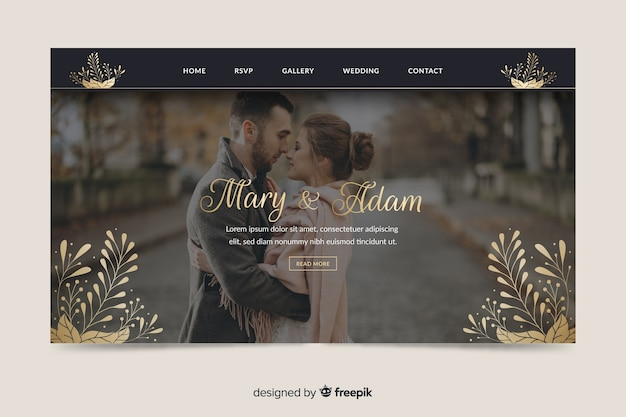 Página inicial do casamento com foto