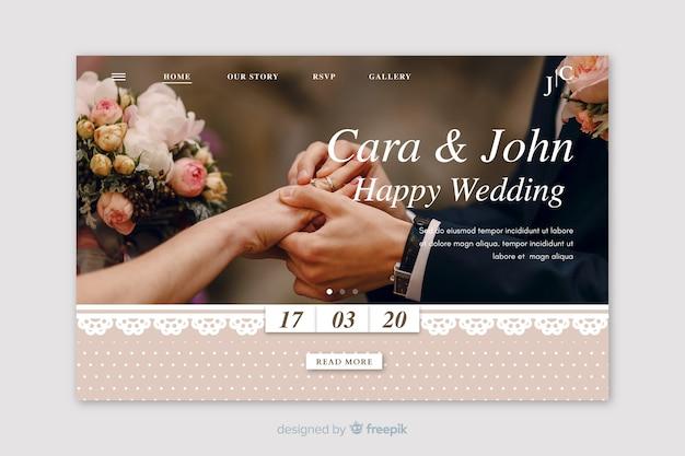 Página inicial do casamento com imagem